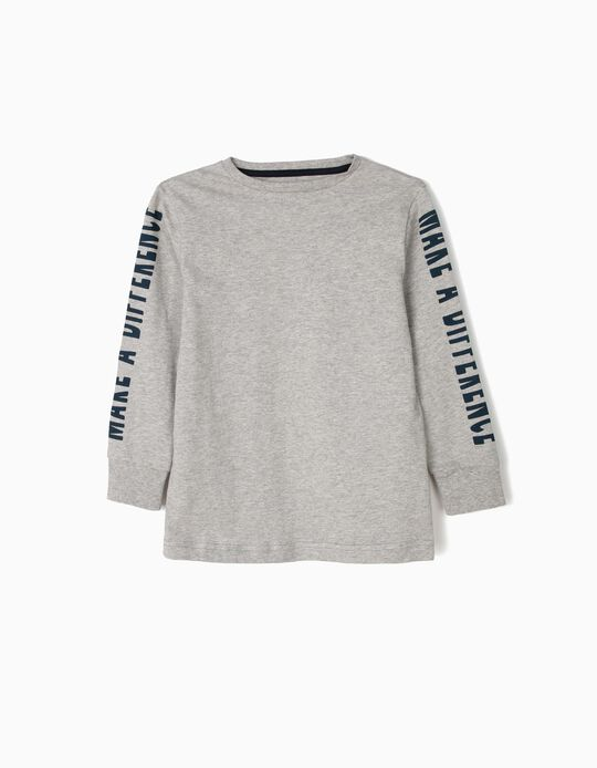 Long-sleeve Top for Boys 'Make a Difference', Grey