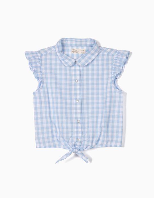 Blusa para Menina Xadrez Vichy, Azul