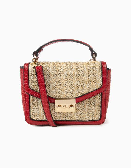 Versatile straw handbag