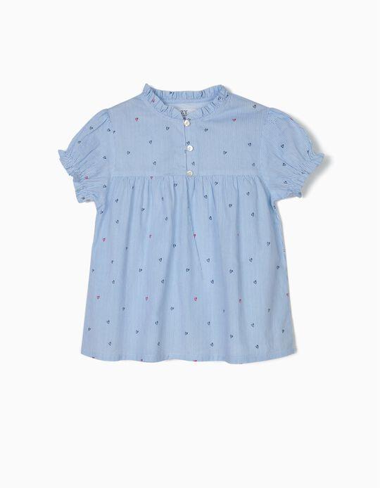 Blusa para Menina 'Riscas e Corações', Azul
