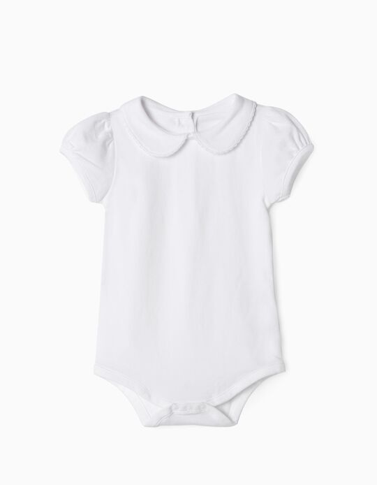 Short Sleeve Bodysuit for Baby Girls, White