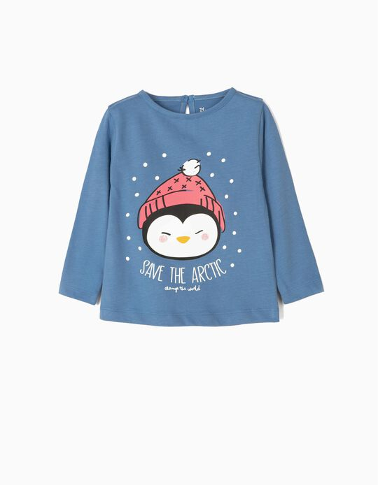 Long-sleeve Top for Baby Girls 'Save The Artic', Blue