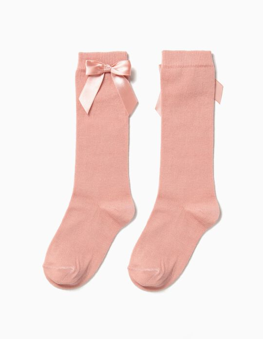 Knee-High Socks with Bow for Girls, Pink