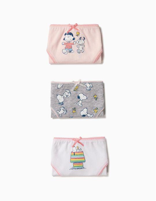 3 Cuecas para Menina 'Snoopy', Rosa