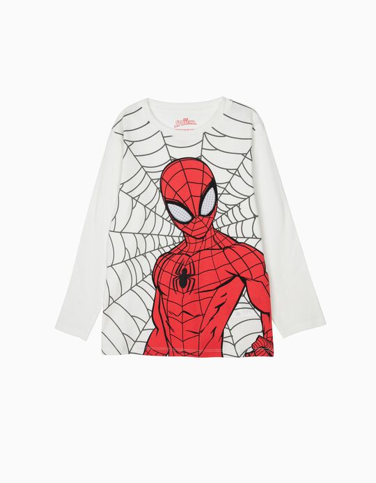 Long-Sleeved 'Spiderman' Top for Boys, White