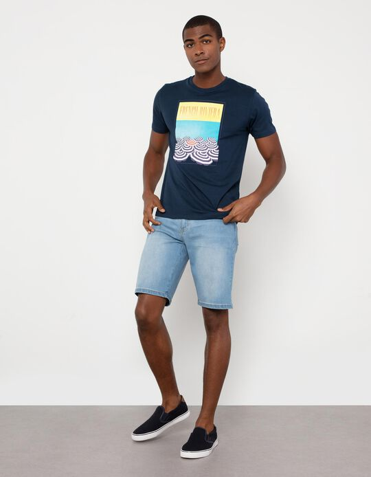 Slim Leg Stretch Denim Shorts, Men