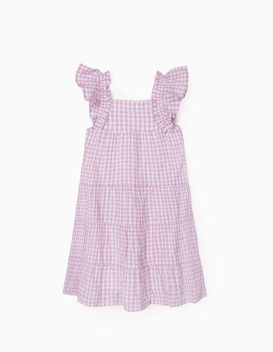 Plaid Dress for Girls, 'Gingham', Lilac/White