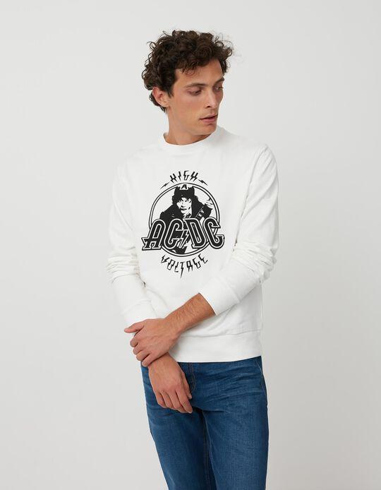 Sweatshirt AC/ DC, Homem, Branco