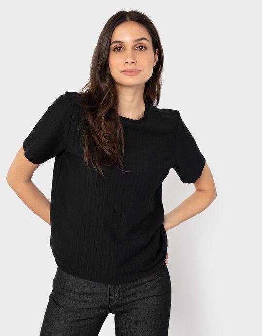 T-shirt com Textura, Mulher, Preto