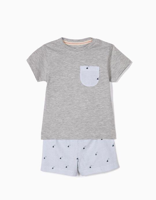 Pijama para Bebé Menino 'Paper Planes', Cinza e Azul