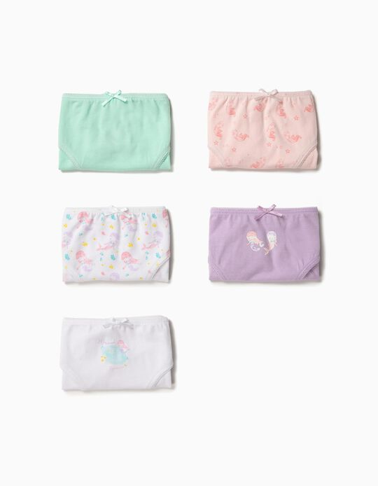5 Cuecas para Menina 'Little Mermaid', Multicolor