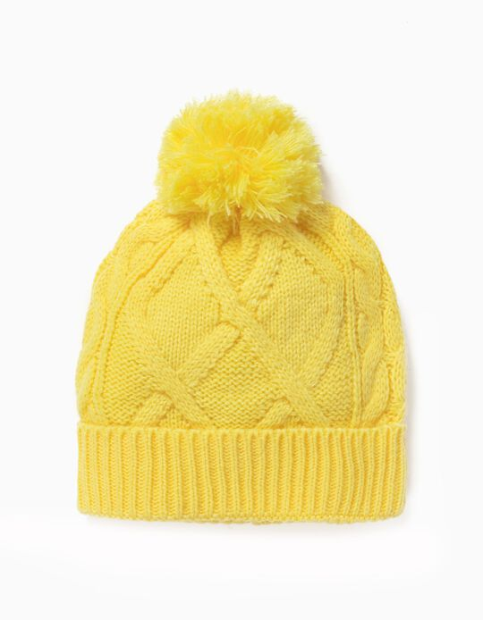 Knit Beanie for Baby Girls, Yellow