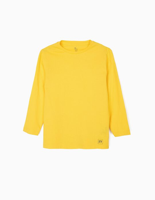 T-shirt Manga Comprida Básica para Menino, Amarelo