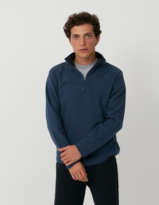Polar Fleece Sweatshirt with Zip, Men, Blue