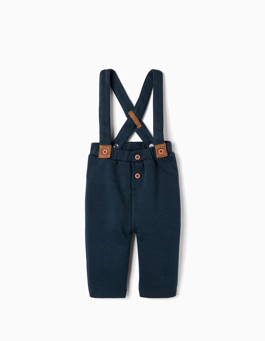 Piquet Trousers with Suspenders, Dark Blue