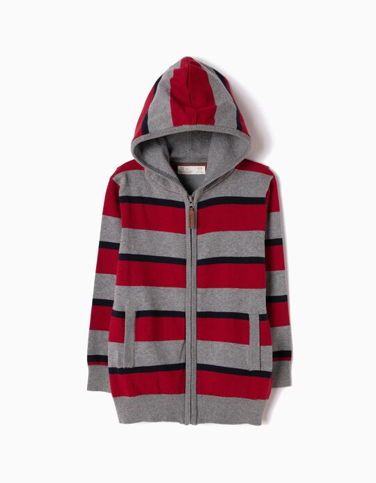 Cardigan with Hood, Red Stripes