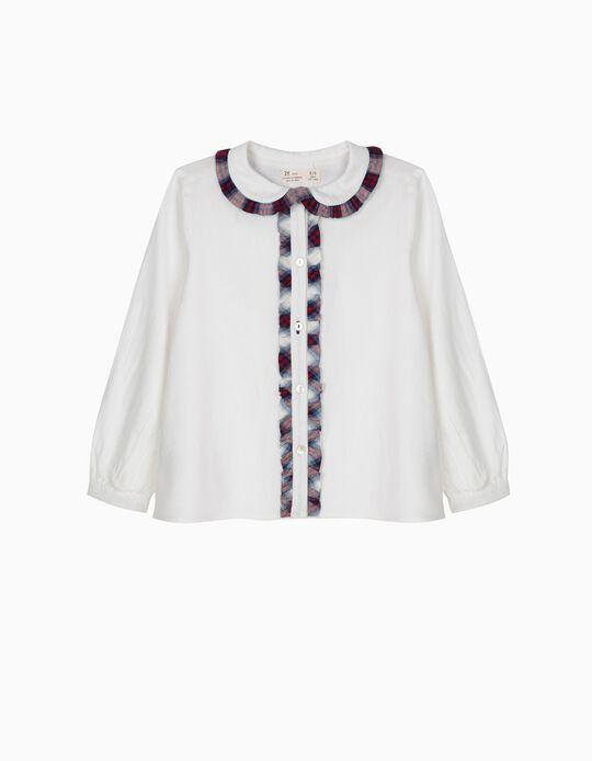 Blusa Branca com Folhos e Xadrez