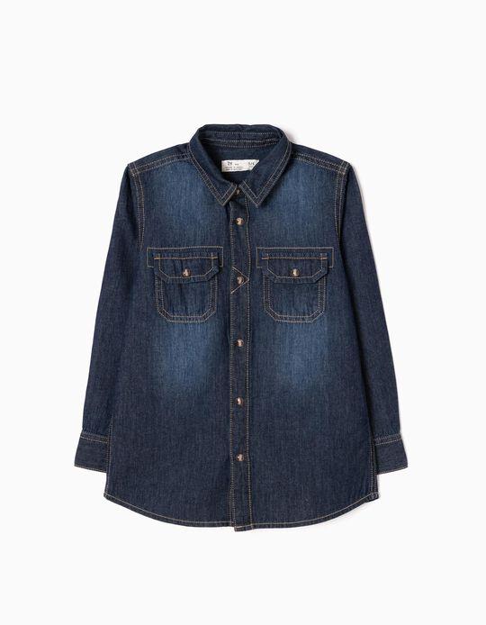 Denim Shirt 'Rare & Raw', Dark Blue