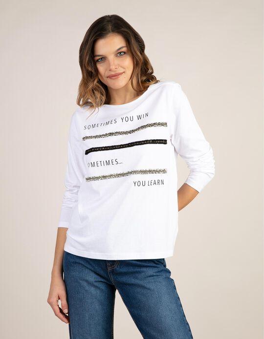 T-shirt manga comprida estampada