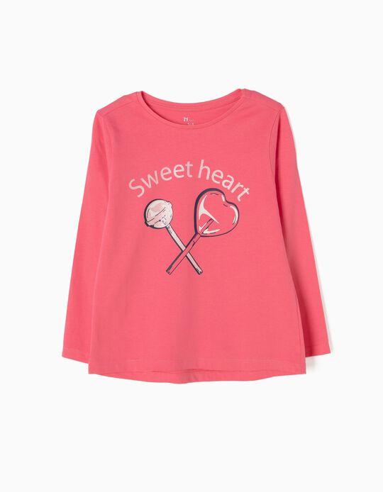 T-shirt Manga Comprida Sweetheart Rosa