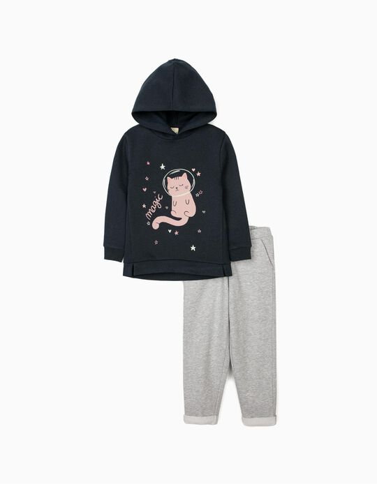 Tracksuit for Girls 'Magic Cat', Dark Blue/Grey