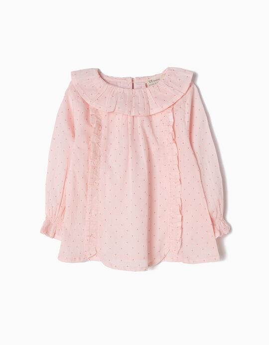 Pink Blouse, Ruffles & Little Dots