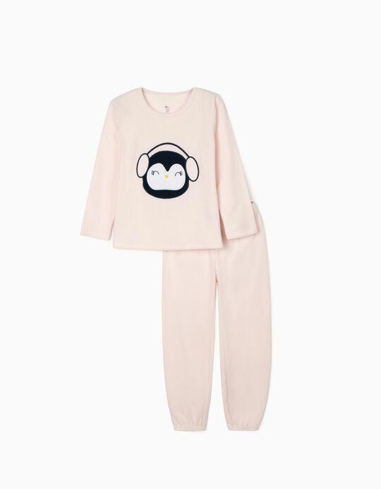 Polar Fleece Pyjamas for Girls 'Penguin', Pink