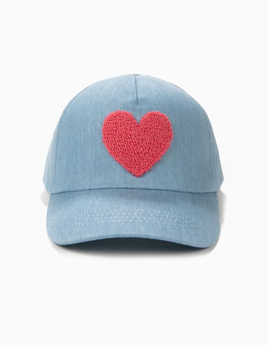 Boné para Menina Coração, Azul Claro
