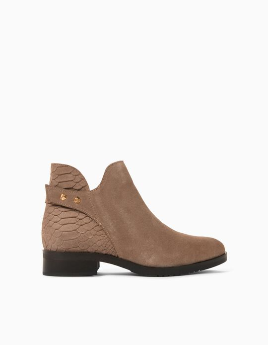 Leather Ankle Boots for Women, Made in Portugal, Beige
