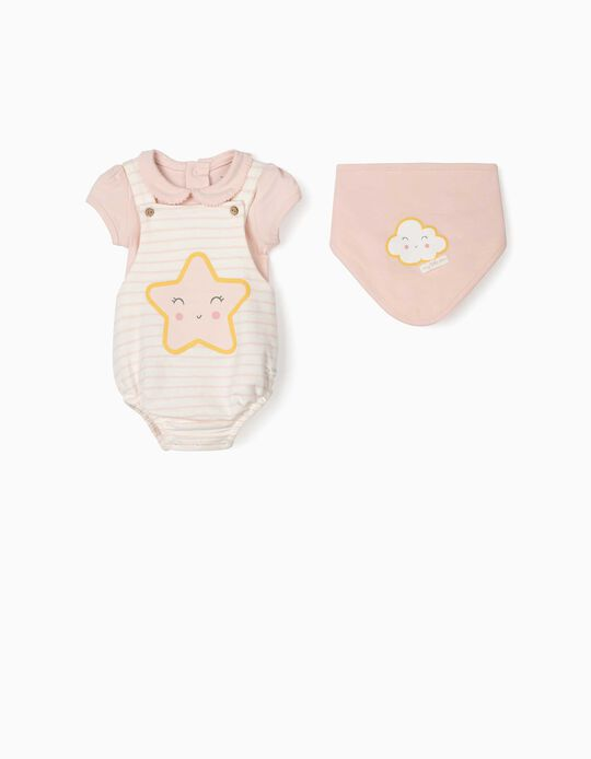 3-Piece Outfit for Newborn Baby Girls, 'Star', Pink/White