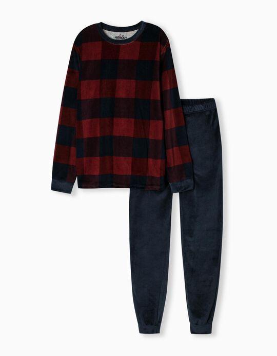 Velour Pyjamas, Men, Blue/ Red
