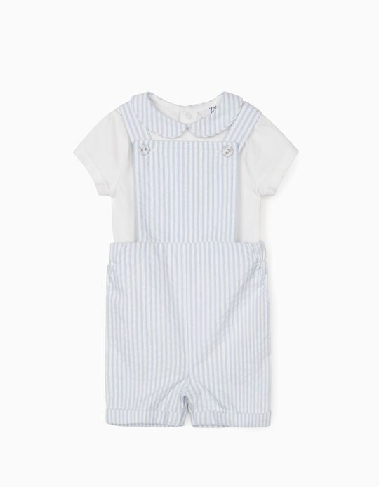 Dungarees and Bodysuit for Newborn Baby Boys, Blue/White