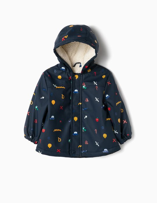Hooded Parka for Baby Boys 'Alphabet', Dark Blue