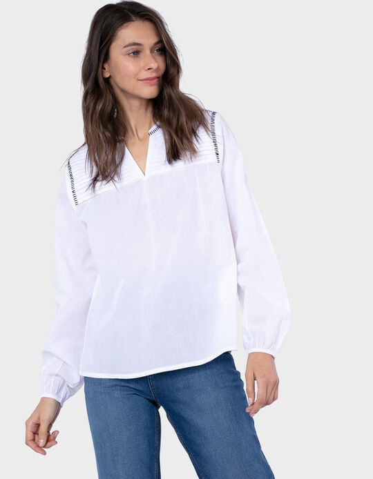 Long Sleeve White Blouse for Women
