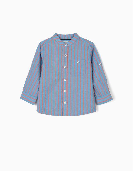 B&S' Shirt with Mandarin Collar for Baby Boys, Blue