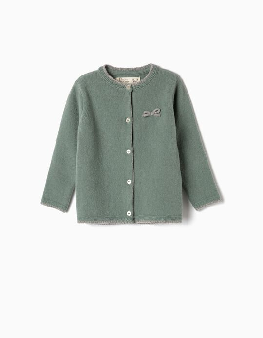 Wool Cardigan for Baby Girls, Green