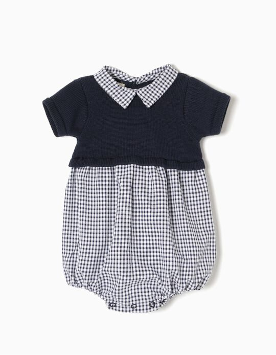 Combined Playsuit, Blue Gingham