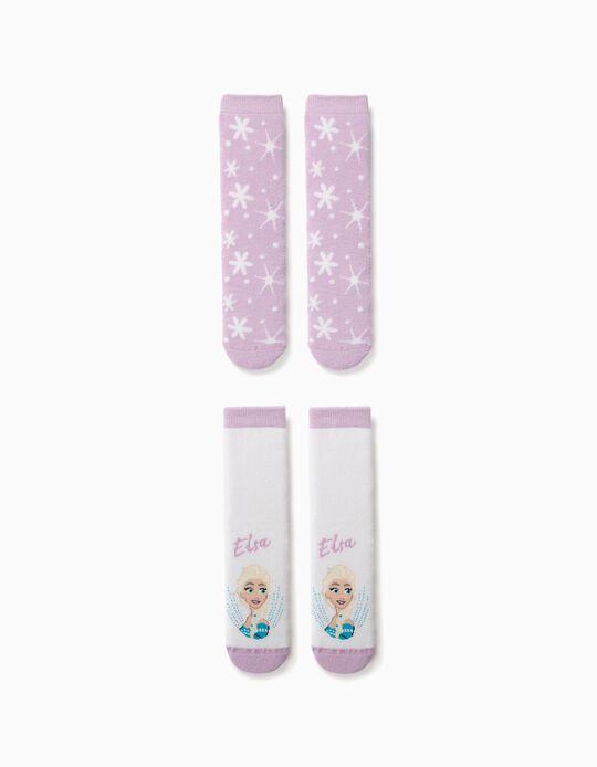 2 Pairs of Non-Slip Socks for Girls, 'Frozen', White/Lilac