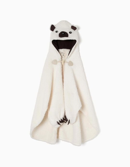 Panda' Blanket Dressing Gown with Hood and Mittens for Boys, White