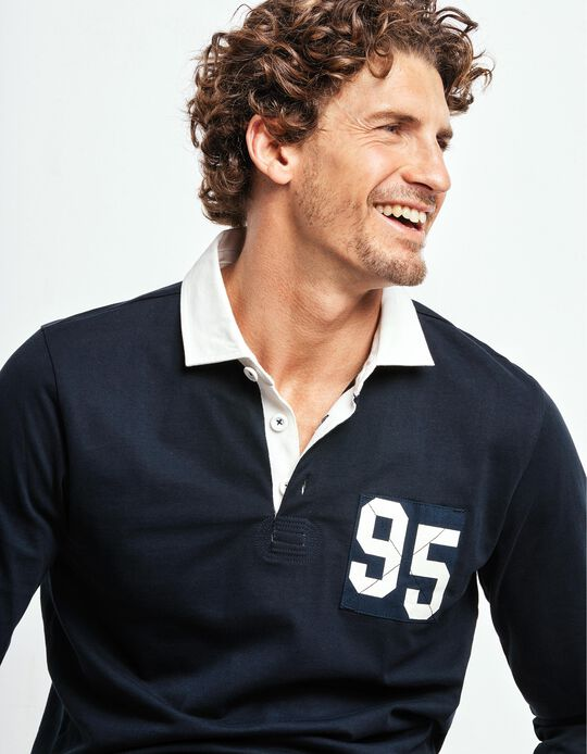 Plain polo shirt with contrasting collar