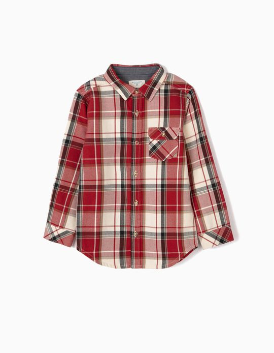 Check Shirt for Boys 'B&S', Red/White
