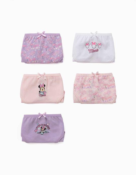 5 Cuecas para Menina 'Minnie', Lilás/Rosa/Branco