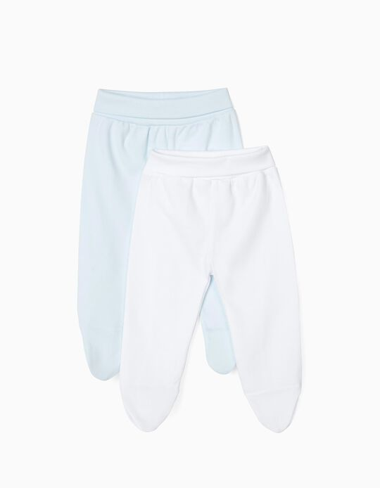2-Pack Footed Trousers for Newborn, White and Blue