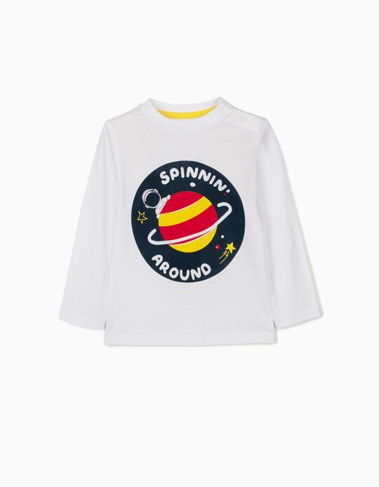 Long Sleeve Top for Baby Boys, 'Spinnin' Around', White
