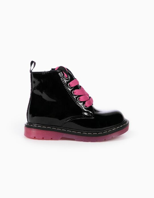 Patent Biker Boots for Baby Girls 'ZY Cosmic', Black