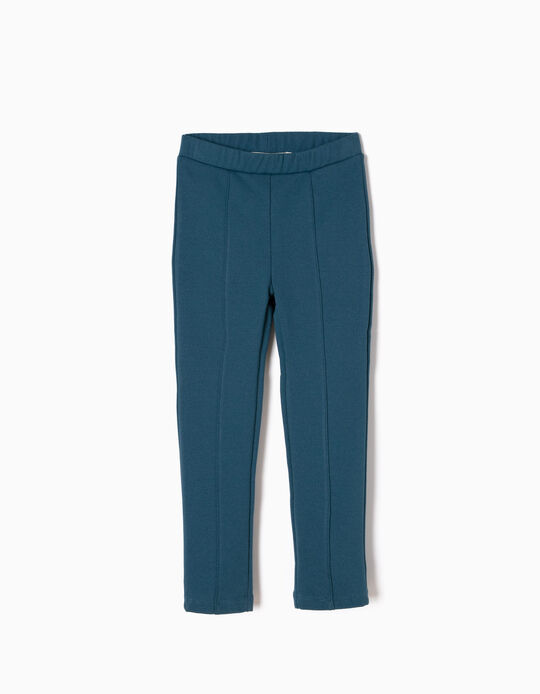 Petrol Blue Leggings in Jersey Knit Fabric