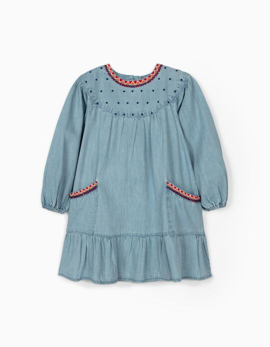Denim Dress with Embroideries for Girls, Light Blue