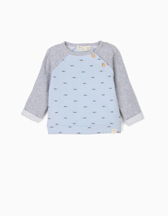 Sweatshirt para Recém-Nascido 'Lion', Cinza e Azul