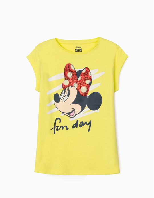 T-Shirt for Girls, 'Minnie Fun Day', Lime Yellow