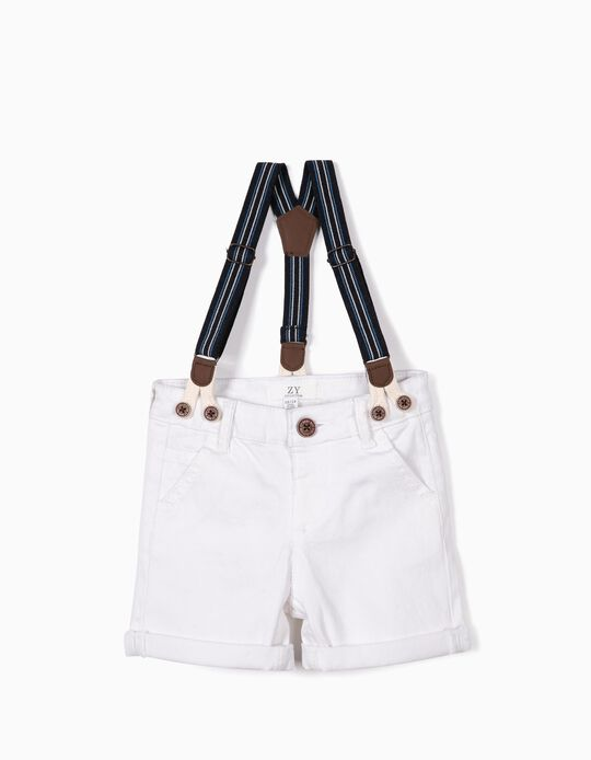 Shorts with Suspenders for Baby Boys, White